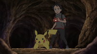 Goh with Ash's Pikachu