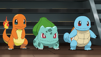 Bulbasaur, Charmander, and Squirtle
